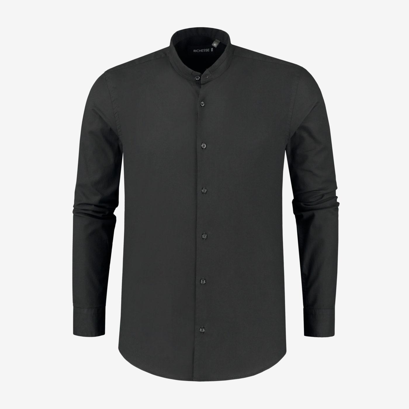 Richesse-Mandarin-Black-Shirt_Front